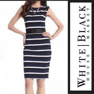 WHITE HOUSE BLACK MARKET Sheath Striped Dress